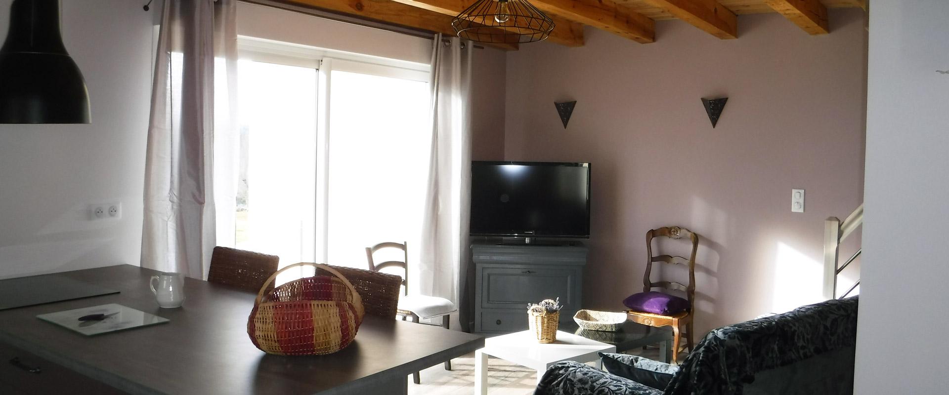 Vue du salon du gîte Lou Saltret en location pour vos vacances en Lozère